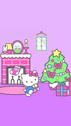 Navidad Hello Kitty, Hello Kitty Art, Hello Kitty Pictures, Hello Kitty Items, Sanrio Hello Kitty, Cute Christmas Wallpaper, Holiday Wallpaper, Hello Kitty Backgrounds, Hello Kitty Wallpaper