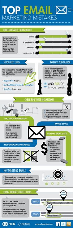Los errores más habituales del email marketing #infografia #infographic…