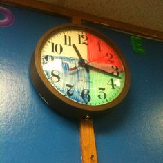 Dry erase clock showing quarter hours