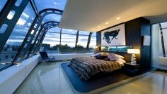 bedroom with large window and great view