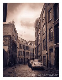 Cobblestone Street in Shoreditch. London, England. Converted warehouses. Sepia photo print. Multiple sizes available. Free US shipping.