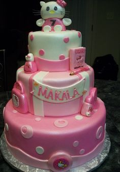 MoniCakes: Hello Kitty Cake with Gum Paste Topper and Accessories Ideas for next years cake-Olivia Hello Kitty Birthday Cake, Hello Kitty Cake, Single Layer Cakes, Fondant Icing, Cool Birthday Cakes, Gum Paste, Let Them Eat Cake, Beautiful Cakes, How To Make Cake