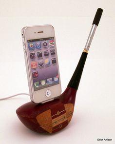 Vintage Wooden Golf Club iPhone 4 Dock