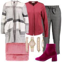 Un cappotto classico, grigio e bianco, con frange, a righe, blusa in viscosa, pantaloni grigi a scacchi, con cintura in vita. Abbiniamo i tronchetti in velluto e per un tocco eccentrico, la morbida borsa in ecopelliccia rosa. Infine, vediamo 'orologio da donna con cassa tonda color oro con quadrante in madreperla rosa, con cinturino rosa in pelle con chiusura a fibbia e braccialetti abbinati.