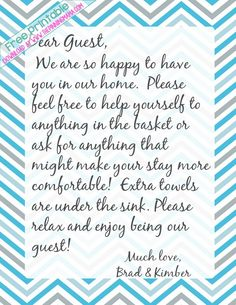 I always leave a handwritten note for my guests to make them feel comfortable in my home and let them know where things are! It makes them feel so welcome! **Free welcome note printable stationary download here!***