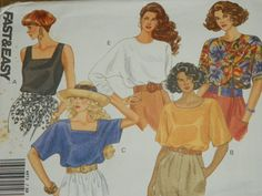 Butterick 4873 Pattern for 5 different Blouses by SewVintageCo, $8.00  Women's blouses, 5 different styles