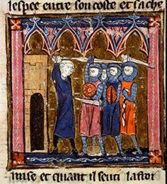 Soldat mit Buckler, Lyon BM MS.867, fol. 171v, 1275-1325, Frankreich.