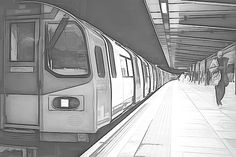 London Underground Train at Station Balck and White Sketch by Rick Deacon Perspective Drawing Lessons, Perspective Art, Black And White Sketches, Black And White Illustration, Art Syllabus, Train Sketch, London Sketch, London Underground Train, Tube Train