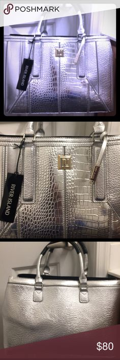 River island large tote Brand new sliver river island tote with tags and beautiful details to the front. River Island Bags Totes