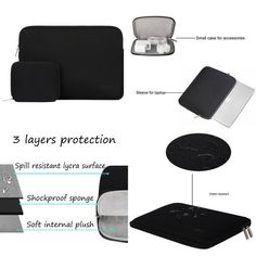Macbook Pro 13 Inch Water Repellent Laptop Bag Cover With Small Case Black