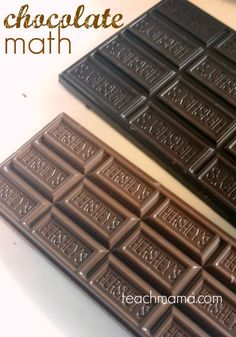 Need some ideas on making learning math FUN for kids? Kids will LOVE this chocolate math activity! Use the FREE printable to figure out age by using chocolate! It's a practical way to teach math with hands on learning! #teachmama #math #mathactivities #mathisfun #chocolate #learningmath #learningwithchocolate #mathproblems #printable #freeprintable