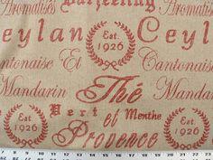 Fabric Description: Rustic Burlap/Linen . Red French script design printed on a rustic burlap/linen textured fabric (similar to barkcloth) / ECO Friendly / Soft but durable body.