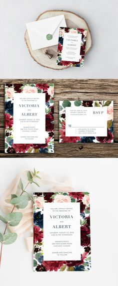 Styled in shades of burgundy, navy blue, blush pink, and sage green, this beautiful botanical-inspired wedding invitation suite is perfect for your modern wedding. Features painted watercolor flowers and minimalist text.