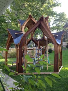 I really love this enchanting wood gazebo Hot Tub Gazebo, Backyard Gazebo, Backyard Landscaping, Pergola, Patio, Natural Structures, Garden Structures, Outdoor Structures, Outdoor Projects