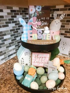 I've decorated my Easter tiered trays and I'm excited to share them with you! Decorating a tiered tray for Easter is any easy way to add seasonal decor Easter Ideas, Easter Crafts, Holiday Crafts, Holiday Fun, Holiday Decor, Diy Easter Decorations, Patriotic Decorations, Tier Tray, Tray Decor