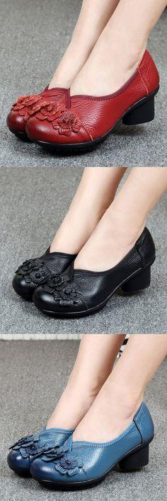 US$25.76 Socofy Leather Mid Heel Vintage Handmade Pumps_ Flower Original Soft Shoes_Leather Floral Pumps_Women Flower Shoes