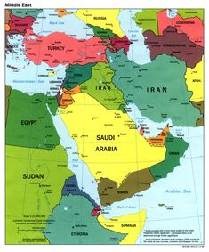 Middle East Map Map Showing The Countries Of Middle East Including