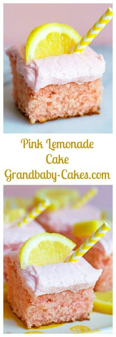 Bursting with lemon flavor, this Pink Lemonade Cake takes your favorite drink from the glass to a plate! Each bite is the perfect combo of sweet, citrusy goodness! Lemonade Cake Recipe, Pink Lemonade Recipes, Pink Lemonade Cupcakes, Homemade Cake Recipes, Healthy Dessert Recipes, Just Desserts, Lemon Recipes, Orange Recipes, Cupcake Recipes