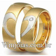Alianças de casamento coração