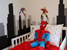 Superhero bed sheets with superhero wall decals and spiderman bed pillow. Spiderman Bed, Spiderman Theme, Spiderman Wall Decals, Avengers Room, Marvel Room, Cool Kids Bedrooms, Kids Bedroom Designs, Kids Rooms, Bedroom Ideas
