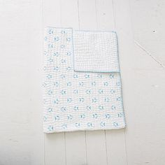Pale blue fish baby quilt