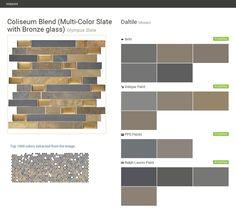 Coliseum Blend (Multi-Color Slate with Bronze glass). Olympus Slate. Mosaic. Daltile. Behr. Valspar Paint. PPG Paints. Ralph Lauren Paint.  Click the gray Visit button to see the matching paint names.