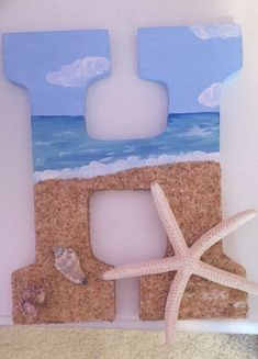 Beach themed wooden letter for my little