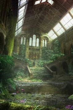 architecture decay ruins abandoned buildings places-but becomes sacred spaces to Mother Nature Abandoned Buildings, Abandoned Mansions, Abandoned Places, Abandoned Castles, Haunted Places, Abandoned Library, Ancient Buildings, Old Buildings, Belle Photo