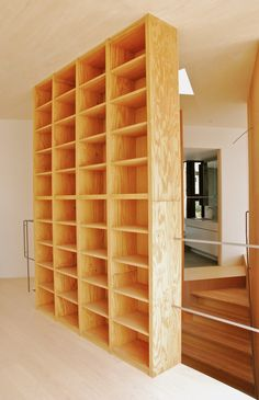 Plywood bookcase: to seperate my kitchen from my living room.
