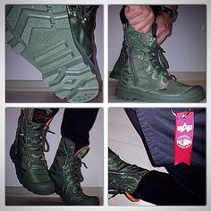 Another #shot : #palladiumboots #alpha #alphaindustries #collab #ma1jacket #sage #military #heritage #brands #boots #jackets #fallwinter #2014 #urban #footwear #fashion #explorer #exploreyourcity #cityboots #combat #kicks #shoes #instaboots #trends