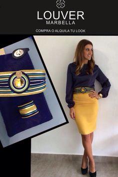 #moda#fashion#louver#marbella#faldalapiz#mostaza#blusa#azulnoche#cinturon#pasamaneria#cordon