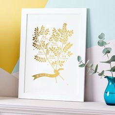 Metallic Personalised Family Branches Print
