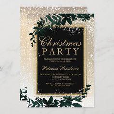 gold typography leaf snow elegant chic Christmas Invitation Christmas Wedding Themes, Christmas Wedding Invitations, Gold Wedding Theme, Wedding Party Invites, Wedding Ideas, Dream Wedding, Snow Wedding Themes, Winter Themed Wedding, Christmas Invitation Card