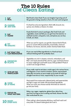 Healthy Diet - Learning how to eat clean starts with understanding these 10 clean eating rules. Clean Eating Rules, Clean Eating Snacks, Clean Foods, Clean Eating Motivation, Clean Eating Guide, Clean Eating Grocery List, Clean Diet, Clean Clean, Grocery List Healthy