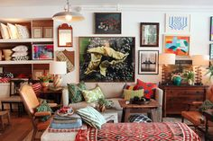 mix of patterns, eclectic decorating, gallery wall, retail design