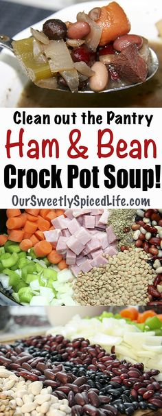 Need an easy healthy homemade meal for your busy on the go schedule? Make this classic Crockpot ham and bean soup; just add ingredients to your slow cooker, set it, and go! Would work great in an instant pot, too! With ham and lots of beans (canned or dried), it's loaded up with great proteins. This soup is a great way to use up leftover ham and vegetables. Great for warming up on cool fall or cold winter days, for great filling lunches at work or school, or for easy weeknight meals.