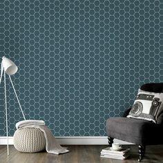 Vinyl Wall Mural Geometric Hexagonal blue – About Designs Wallpaper Bedroom, Tile Inspiration, Home, Blue Design, Office Interior Design, Retro Home, Kitchen Tile Inspiration, Interior Design Bedroom, Aesthetic Bedroom