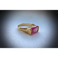 Tourmaline like Pink Faceted Large Rectangular Stone Ring set in... ($40) ❤ liked on Polyvore featuring jewelry, rings, gold vermeil ring, pink ring, pink sterling silver ring, rectangle ring and pink tourmaline jewelry