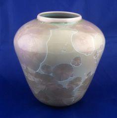 Crystalline glaze ceramic vase, signed, attributed to Stephen Roy by tlgvintageart on Etsy