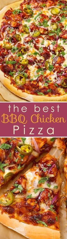 BBQ Chicken Pizza - made with grilled chicken, sliced jalapenos and red onions, and cilantro, So good you'll never go to CPK again! Bbq Chicken Pizza, Barbecue Pizza, Best Bbq Chicken, Chicken Pizza Recipes, Bbq Chicken Flatbread, Chicken Tacos, California Pizza Kitchen, Grilled Pizza, Grilled Chicken