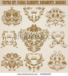 Set of vector damask ornaments. Hand-drawn patterns, borders, arabesque, decorative victorian crowns and heraldic floral elements for design. Page decoration in vintage style.