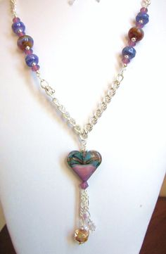 Lampwork Glass Necklace with Heart Pendant  by CreationsbyCynthia1, $62.50