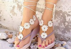 Beach Wedding Black White Crochet Wedding Barefoot Sandals Nude Shoes Foot Jewelry Cheap Bridal Lace Shoes