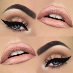 black winged liner with neutral shadows