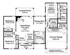 Southern, Traditional, Country House Plans - Home Design # 15508 Split Level House Plans, Square House Plans, Metal House Plans, Ranch House Plans, Cottage House Plans, Country House Plans, House Plans South Africa, Affordable House Plans, Work Triangle