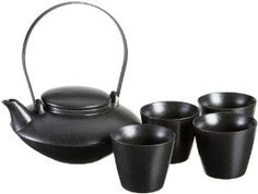 Yedi Houseware Japanese Teapot with Filter and 4 Teacups, Black,$39.52