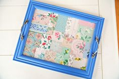 DIY Vintage Wallpaper Tray Here's What You Need: *Vintage Wallpaper Scraps *Frame *Paint *Two Drawer Pulls *Drill and dremmel *Bits to fit your screw and pull type *Glass to fit frame if it doesn't have any already *Matboard *Wallpaper Glue or Modge Podge and a brush