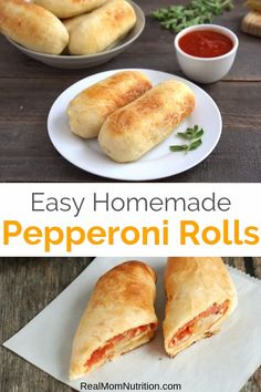 Forget packaged frozen pizza rolls These Homemade Pepperoni Rolls are a fun dinner satisfying snack or easy lunch box item and are made with just five ingredients realmomnutrition pizzarolls recipesforkids lunchboxideas snacksforkids # Fast Dinners, Easy Meals, Steak Dinners, Weeknight Dinners, Homemade Pizza Rolls, Homemade Frozen Pizza, Pizza Bites, Pizza Pizza, Dinner Rolls