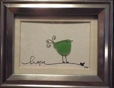 Hope - an original design of a whimsical bird made from genuine sea glass standing on a hand lettered word
