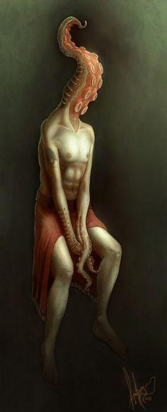 Cthulhu Worshiper by esteban-art on DeviantArt Illustrations, Illustration Art, Dark Fantasy, Fantasy Art, Mountains Of Madness, Best Horrors, Sea Monsters, Cthulhu, Dark Art